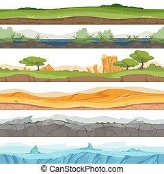 ground., sujeira, seamless, gelo, deserto, água, jogo, vetorial, parallax, fundo, rocha, capim, caricatura, paisagem