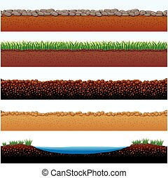 Ground Surfaces - Vector Illustration of Ground parts...