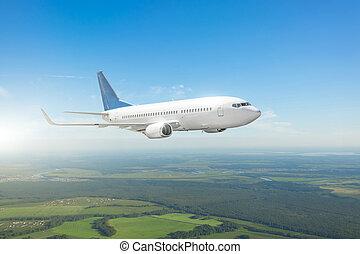ground., voando, viajando, acima, avião