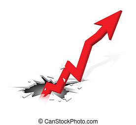 Groundbreaking growing up arrow - Business Graph, 3d...
