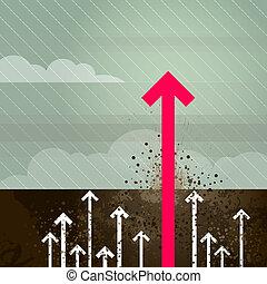 Groundbreaking magenta arrow - Layered vector illustration...