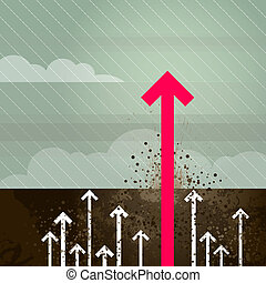 Groundbreaking magenta arrow - Layered vector illustration...