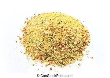 Grounded spice ingredient of dry mix of vegetables isolated on white