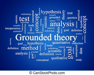 Grounded theory. - Tag cloud over blue background. Grounded...
