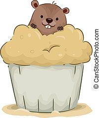 groundhog, cupcake