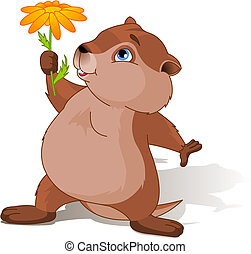Groundhog Day - A cartoon groundhog holding a first spring ...