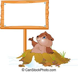 Vector illustration of a cute groundhog popping out of a hole near billboard