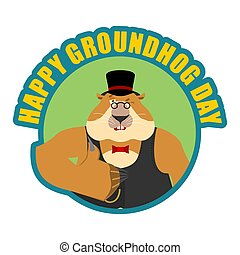 Groundhog day emblem. Groundhog in hat thumbs up and winks....