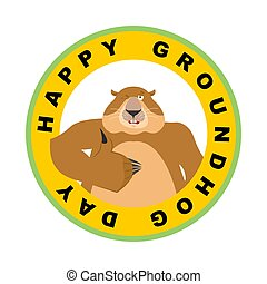 Groundhog day emblem. Groundhog thumbs up and winks....