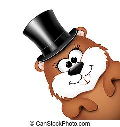 Groundhog Day greeting card with cheerful marmot. Vector illustration.