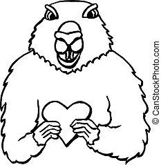 Groundhog Day hand drawn
