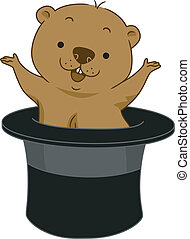 Groundhog Day - Illustration of a Groundhog Popping Out of ...