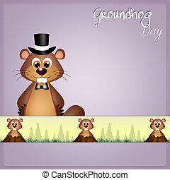 Groundhog Day - illustration of groundhog Day
