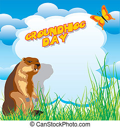 groundhog day - vector image for greeting card of groundhog...