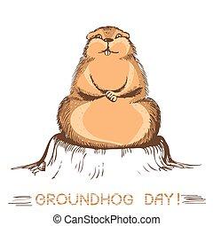 groundhog day marmot. Vector handdraw illustration on white