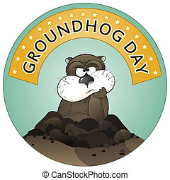 Groundhog Day - Vector illustration of a cute groundhog...