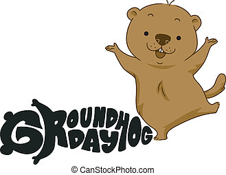 Groundhog Day - Illustration of a Groundhog Dancing Happily