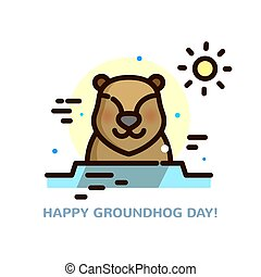 Groundhog day vector illustration