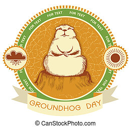 Groundhog day. Vector label background for text