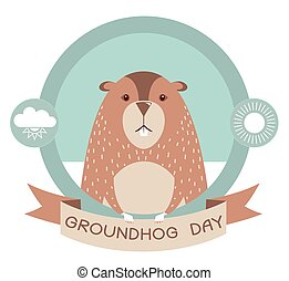 Groundhog day.Marmot in vector label isolated on white