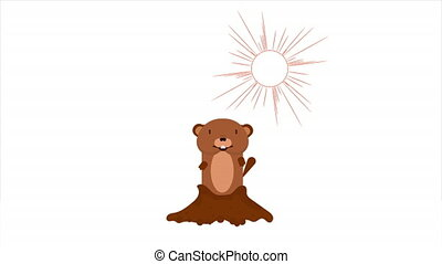 Groundhog from the hole in the background of the sun, art video illustration.