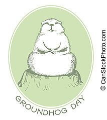 groundhog, giorno, ., vettore, grafico, cartolina, fondo