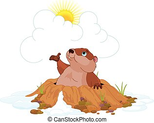 Illustration of very cute groundhog