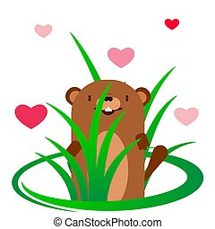 groundhog on a background of red hearts