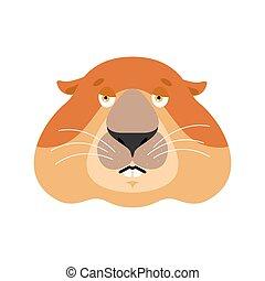 Groundhog sad emoji. Woodchuck sorrowful emotions. Marmot...
