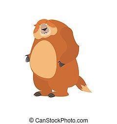 Groundhog sad. Woodchuck sorrowful emotions. Marmot dull....
