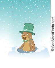 groundhog , tie., καπέλο , δοξάρι
