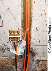Grounding of all household electric devices and equipment, Grounding for protection against discharges of static and atmospheric electricity, installation of a copper tube.