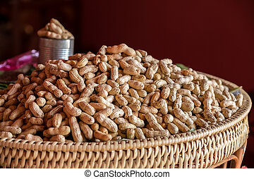 Boiled groundnut in the basket.