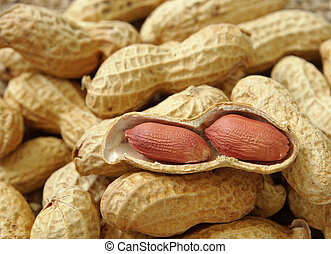 groundnut on the sack background ,close up