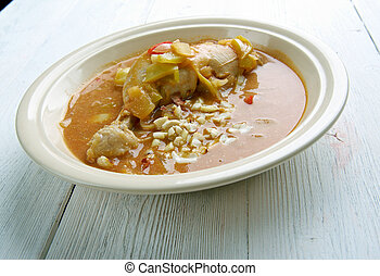 Groundnut Soup - West Africa Spicy Chicken Peanut Soup . popular Ghanaian soup