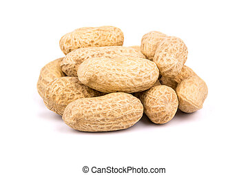 Groundnuts - A pile of peanuts the inshell on a white ...