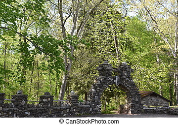 Grounds of Gillette Castle State Park in East Haddam, ...