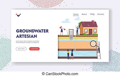 Groundwater or Artesian Water Extraction Landing Page Template. Characters with Magnifying Glass Presenting Well Drill