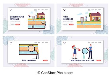 Groundwater or Artesian Water Extraction Landing Page Template Set. Characters with Magnifier Presenting Well Drilling
