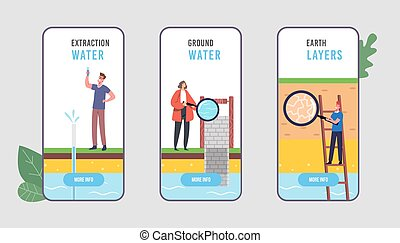 Groundwater or Artesian Water Extraction Mobile App Page Onboard Screen Template. Characters Well Drilling Presentation
