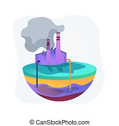 Groundwater pollution abstract concept vector illustration. Groundwater contamination, underground water pollution, chemical pollutant in soil, landfill, purification system abstract metaphor.