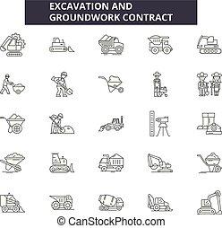 grounwork, contorno, illustration:, excavación, iconos,...