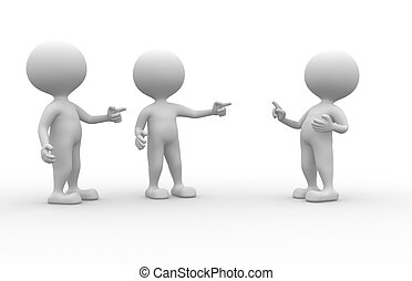 Group - 3d people - men, person pointing another person