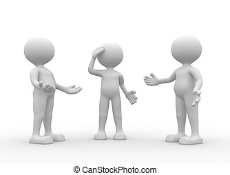 Group - 3d people - men, person talking in group