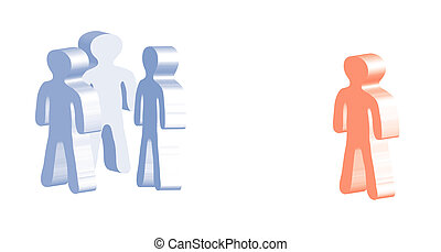 A symbolic illustration of workplace bullying. All isolated on white background.