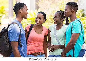 african college friends chatting outdoors