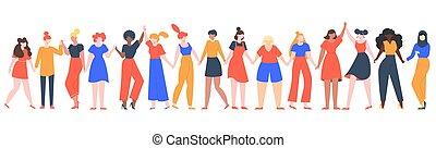 group., amistad, manos, comunidad, hermandad, vector, niñas...