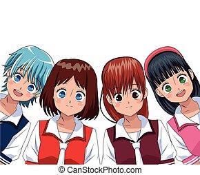 group anime girl manga