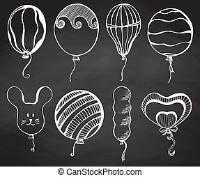Group balloons of different shapes. Hand drawn chalk on the board.