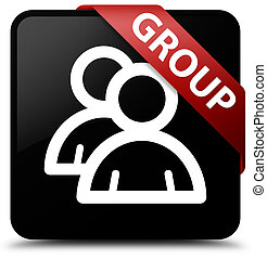 Group black square button red ribbon in corner
